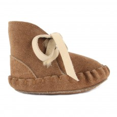 Chaussons Cuir Fourrés Pina Taupe