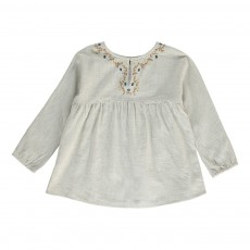 Blouse Brodée Boutons Dos Beige