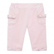 Pantalon Velours Nœuds Rose