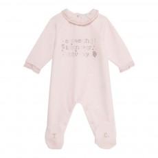 Pyjama Pieds Velours Alphabet Rose pâle