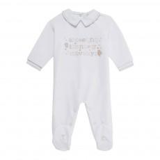 Pyjama Pieds Velours Alphabet Bleu ciel