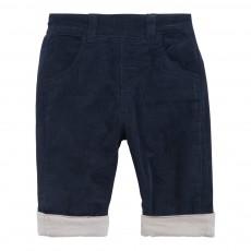 Pantalon Velours Réversible Bleu marine