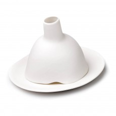 Photophore Igloo lisse en porcelaine mate Blanc