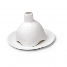 Photophore Igloo criblé en porcelaine mate Blanc