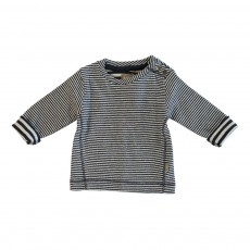 T-shirt Rayé Boutons Epaule Sean Coton Bio Bleu marine