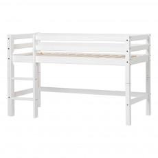 Lit mezzanine-bas Basic avec échelle 70x160 cm Blanc
