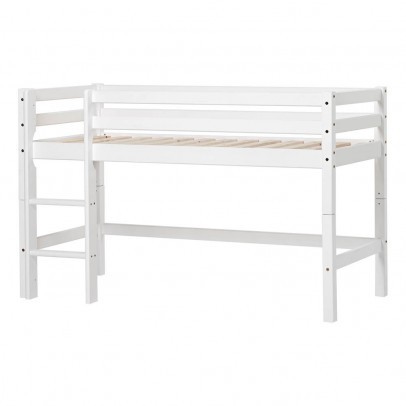 Lit mezzanine bas basic avec chelle 70x160 cm blanc hoppekids mobilier smallable - Lit mezzanine echelle cote ...