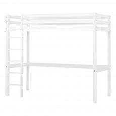 Lit mezzanine-haut Basic avec échelle 90x200 cm Blanc