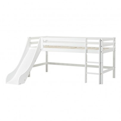 lit mezzanine bas basic avec chelle et toboggan 70x160 cm blanc hoppekids mobilier smallable. Black Bedroom Furniture Sets. Home Design Ideas