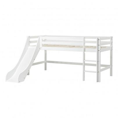 Lit mezzanine bas basic avec chelle et toboggan 70x160 cm blanc hoppekids mobilier smallable - Lit mezzanine echelle cote ...