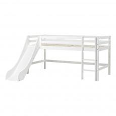 Lit mezzanine-bas Basic avec échelle et toboggan 90x200 cm Blanc