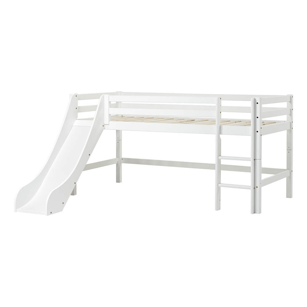 lit mezzanine bas basic avec chelle et toboggan 90x200 cm. Black Bedroom Furniture Sets. Home Design Ideas