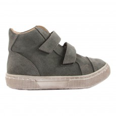 Baskets Cuir Velcro Vert kaki