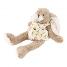 Peluche lapin - Gilet fleurs jaunes Jaune