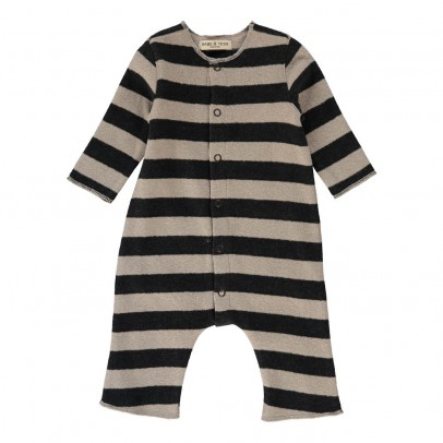 Striped knit romper with buttons charcoal grey