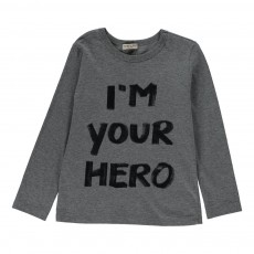 "T-Shirt ""I'm Your Hero"" Gris chiné"
