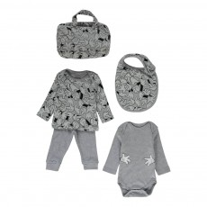 Ensemble Sweat Jogger Body Bavoir et Sac Hands Gris chiné