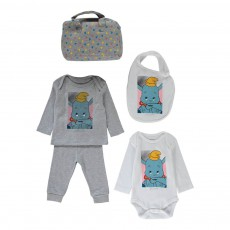 Ensemble Sweat Jogger Body Bavoir et Sac Dumbo Gris chiné