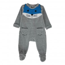 Pyjama Velours Chat Gris chiné