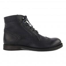 Boots Lacets Zippées Cuir Brossé Bleu nuit
