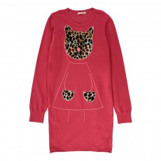 Robe Maille Chat Rose fuschia