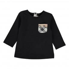 T-shirt Poche Tartan Noir