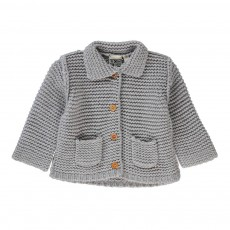 Cardigan Point Mousse Poches Gris clair