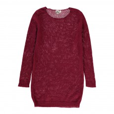 Robe Pull Maille Fine Bordeaux
