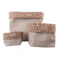 Boîte de rangement Vieux rose - Rayures argent