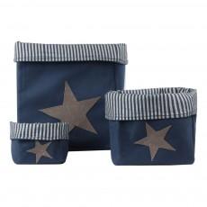 Boîte de rangement Etoile piquée - Bleu marine/Gris