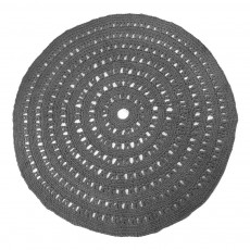 Tapis rond crochet Gris anthracite