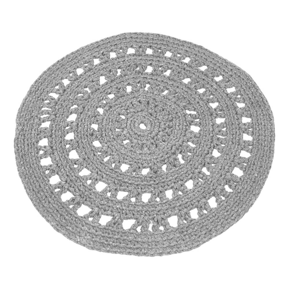 tapis rond crochet gris clair naco d coration smallable. Black Bedroom Furniture Sets. Home Design Ideas