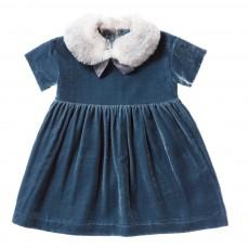 Robe Velours Ras Col Façon Fourrure Bleu gris
