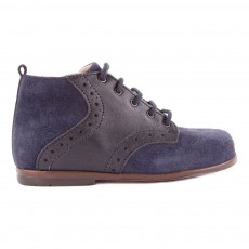 Bottines Velours Ralf Bleu marine