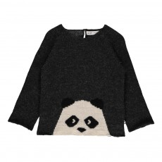 Exclusivité Oeuf x Smallable - Pull Baby Alpaga Panda Gris foncé