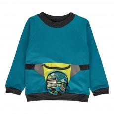 Sweat Zip Ouverture Sacoche Fanny Bleu turquoise