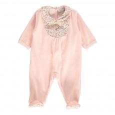 Pyjama Col Détails Fleurs Rose pâle