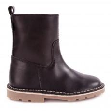 Low Boots Cuir Halley Fourrées Noir