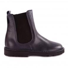 Chelsea Boots Cuir Zippée Bleu marine