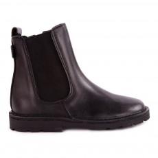 Chelsea Boots Cuir Zippée Noir