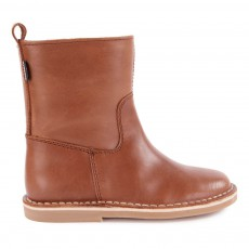 Ankle Boots Cuir avec Zip Camel