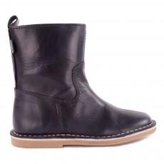 Ankle Boots Cuir avec Zip Bleu nuit