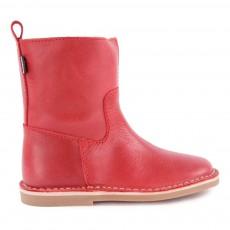 Ankle Boots Cuir avec Zip Rouge