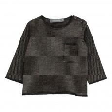 T-Shirt Rayé Poche Bru Gris anthracite