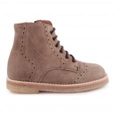 Boots Cuir Perforé à Lacets Zippées Vert kaki