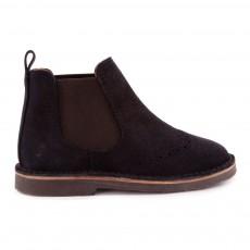 Boots Suede Chelsea Bleu marine