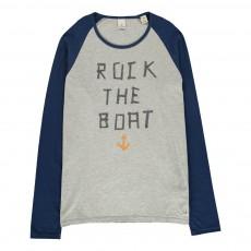 """T-shirt Bicolore """"Rock The Boat"""" Gris chiné"""