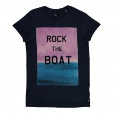 "T-shirt ""Rock The Boat"" Bleu nuit"