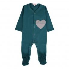 Pyjama Cœur Bleu Vert