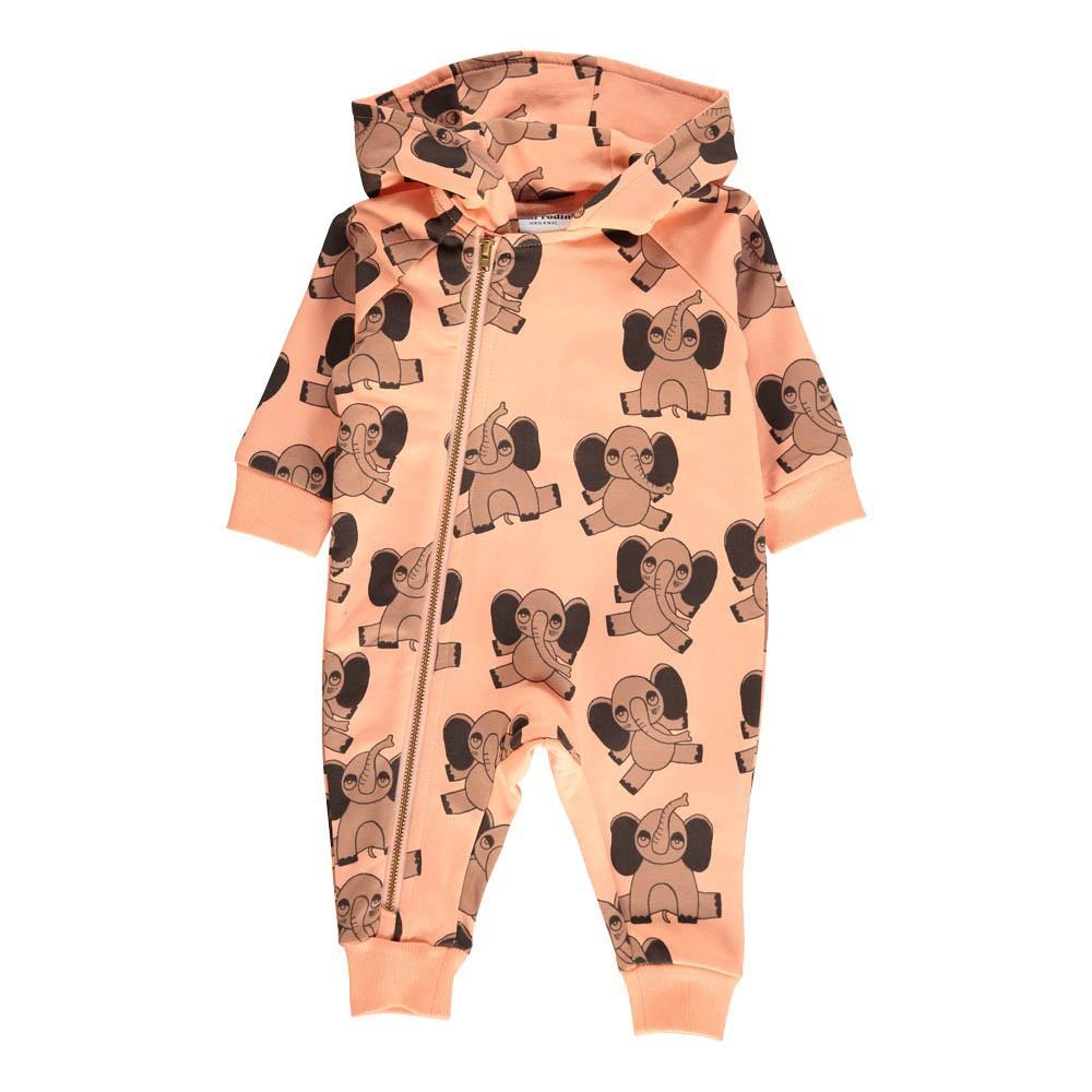 Combinaison capuche elephants coton bio rose p le mini rodini mode enfant smallable - Combinaison rose pale ...